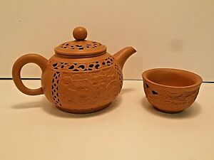 Chinese Double Layer Teapot Cup Brown Clay Detailed Design Signed Unique