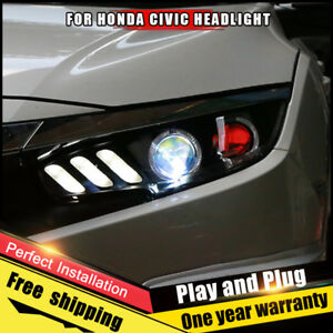 2016 2018 For Honda Civic Headlights Assembly Bi Xenon Lens Double Beam Hid Kit