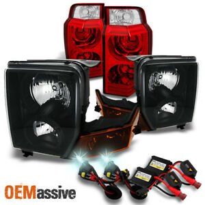 Fit 06 10 Jeep Commander Black Headlights Red Clear Tail Lights 8000k Hid