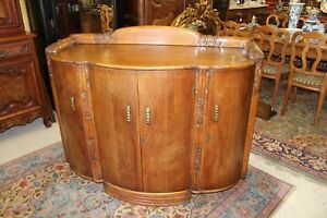 English Antique Chester Oak Art Deco Sideboard Buffet Wine Bar Drink Cabinet