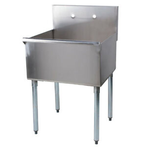 24 X 24 X 14 Bowl Stainless Steel One Compartment Commercial Utility Sink 16g