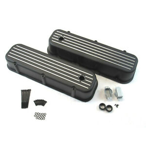 Retro Ball Milled Black Coated Tall Valve Covers For 65 95 Bbc Chevy 454