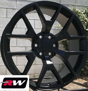24 X10 Inch Rw 5656 Wheels For Chevy Truck Satin Black Rims 6x139 7 31 Set