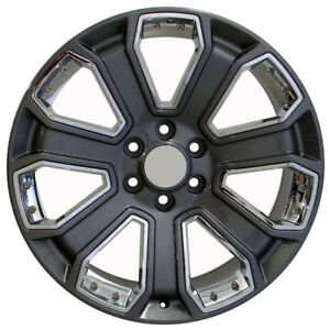 New Set 22 Inch Gunmetal Rims W Chrome Inserts For Chevy Trucks 7 Spokes