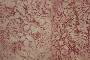 Antique French Toile C1820 Pink Floral Valance Fragment Quilted Textile 19th