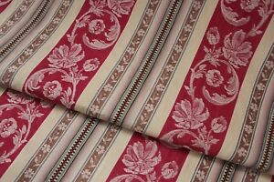 Antique French Woven Damask Ticking Floral Stripe Fabric Napoleon Iii C1870