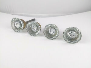 Antique Glass Door Knobs Lot Of 4 Vintage