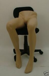 Brand New Male Fiberglass Realistic Mannequin Sitting Legs Flesh Tone With Base