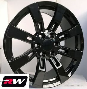 24 X10 Inch Chevy Tahoe Factory Style Ck375 Wheels Gloss Black Denali Rims