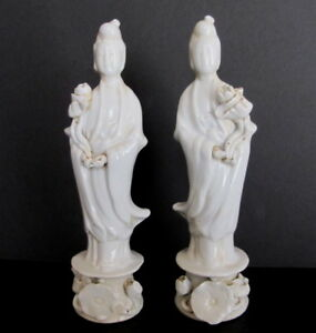 Pair Antique 19th Century Chinese Blanc De Chine Kwan Yin Figurines Statues