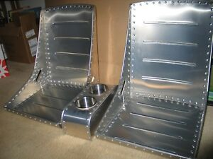 Pair Wwii Style Aircraft Bomber Seats Belt Slots Center Console Combo Deal