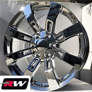 24 Inch 24 X10 Chevy Tahoe Factory Style Ck375 Wheels Chrome Denali Rims