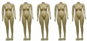 Set Of 5 X Large Female Brazilian Body Mannequins W arms Bases