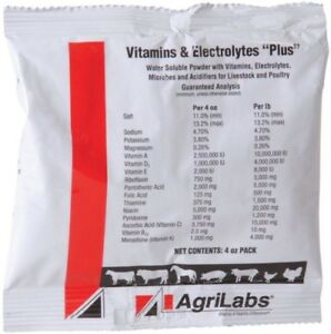 Vitamin Electrolyte Plus Water Soluble Cattle Swine Poultry Horse 4 Oz