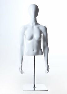 Female Table Top Abstract Egghead Torso Mannequin On Adjustable Steel Chrome