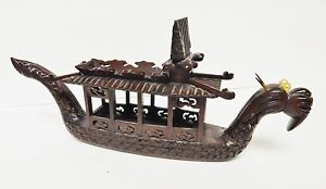 Asia Rosewood Dragon Ship Boat Carved Wood Pearl Eyes Oriental China Vintage