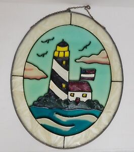 Vintage Stained Glass Wall Window Panel Hand Painted Lighthouse Nautical 11 X9