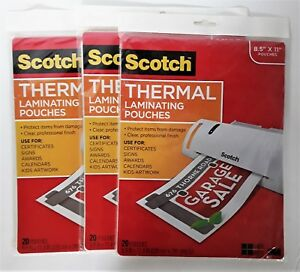 Lot Of 3 Packages Of Scotch Thermal Laminating Pouches Tp3854 20 8 9x11 4 In