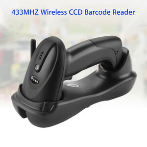 Portable 433mhz Wireless Laser Barcode Scanner Reader For Pc Library Warehouse