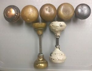 Vintage Metal Brass Door Knobs Lot Of 9