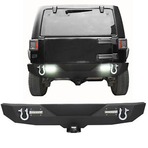 Rear Bumper W Led Light 2 Receiver D ring For 07 18 Jeep Wrangler Jk