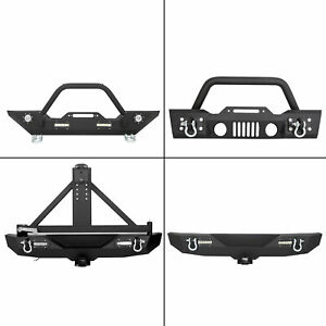 Rock Crawler Front Rear Bumper Winch Plate Led D ring For 07 18 Jeep Wrangler Jk