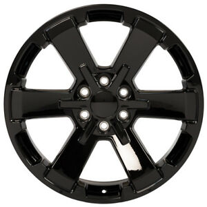 New 22x9 Chevrolet Silverado 1500 6 spoke Black Rally Style Rim Wheel