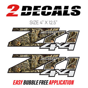 Set Of 2 Chevy Silverado Z71 4x4 Decals Realtree Camouflage Stickers Bed Side