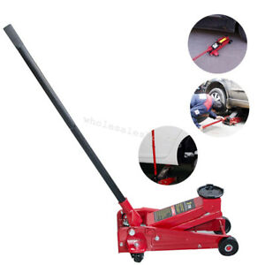Portable 3ton Heavy Duty Steel Low Profile Floor Jack Rapid Pump Show Lowrider