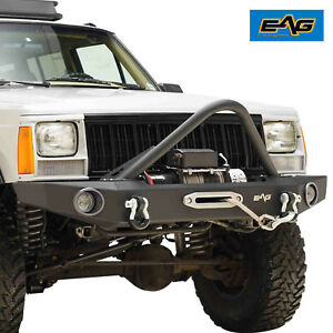 Eag Stinger Front Bumper With Winch Plate For 84 01 Jeep Cherokee Xj