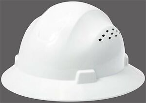 Hdpe White Full Brim Hard Hat With Fas trac Suspension