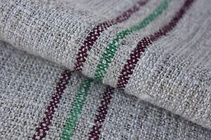 Grainsack Grain Sack Vintage Feedsack Maroon Green Cotton Linen Mix Bag
