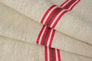Grain Sack Feedsack Washed Linen Red Green Stripe Christmas Fabric Vintage Bag