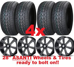 28 Inch Asanti Wheels Rims And Tires 28x10 295 25 28 Black Milled Ford Lincoln 4