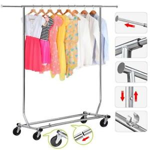 250 Lbs Heavy Duty Garment Rack Commercial Clothing Collapsible Stainless Steel