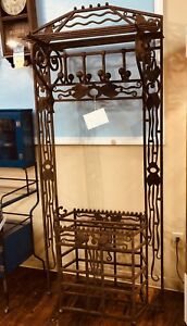 Antique Primitive Wrought Iron Double Hall Tree Umbrella Stand One Of A Kind