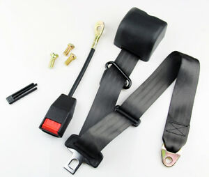 Black Retractable Vehicle 3 Point Auto Car Safety Seat Lap Belt Kit