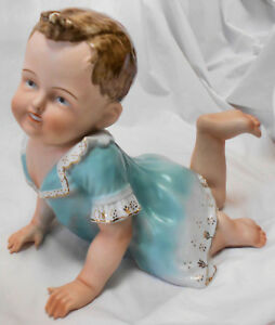 Adorable Big Boy Vtg Porcelain Bisque Glazed Crawling Boy Piano Baby Figurine