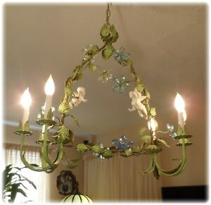 Vintage 6 Light Italian Tole Cherubs Angels Huge Chandelier Crystal Flowers
