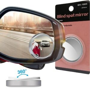 4x Car Rearview Mirror Blind Spot Side Convex View Wide Angle Adjustable Round