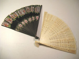Lot Of 2 Vintage Fans One Made In Occupied Japan Hand Painted Fan Stamped