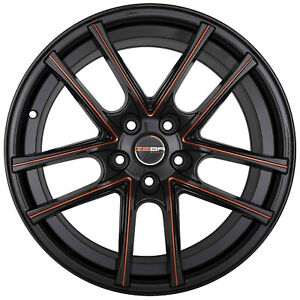 4 Gwg Zero 18 Inch Black Red Mill Rims 18x9 Fits Acura Tl Type S except Brembo