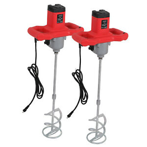 2x Electric Handheld Mixer Mud Paint Portable Concrete Mortar Cement Mixers