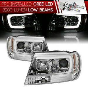 99 04 Jeep Grand Cherokee U Bar Neon Tube Projector Headlight W Cob Led Bulbs