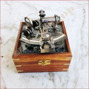 Nautical Brass Maritime Sextant 4 With Wooden Box Marine German Collectible