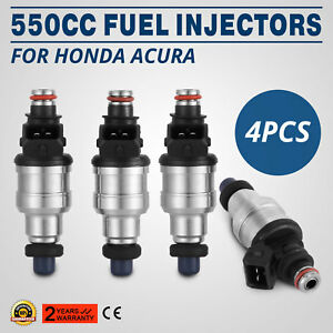 Fine 550cc Fuel Injectors For Honda Acura Turbo Boost Ev1 Jdm Vtec 4pc Cool