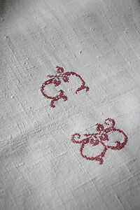 Antique French Linen Sheet Gb Red Cross Stitch Monogram 80x106 Cutter Reworking