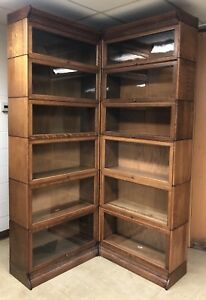 2 Rare Antique Quarter Sawn Oak Gunn Barrister Bookcases With Mitred Tops