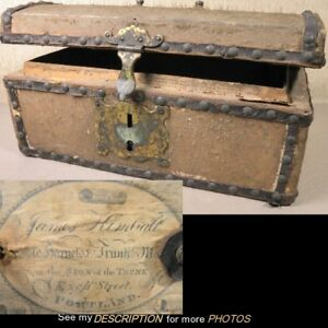 1812 Signed Maker Hide Covered Document Box Trunk James Kimball Portland Maine