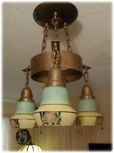 Vintage Art Deco Nouveau Semi Flush Mount Chandelier With Hanging Shades